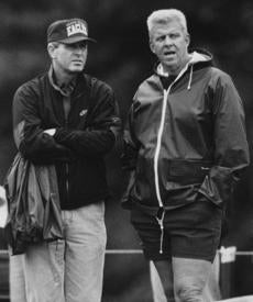 While the head man of the BC Eagles, Tom Coughlin paid a visit to then-Patriots coach Bill Parcells in 1993.